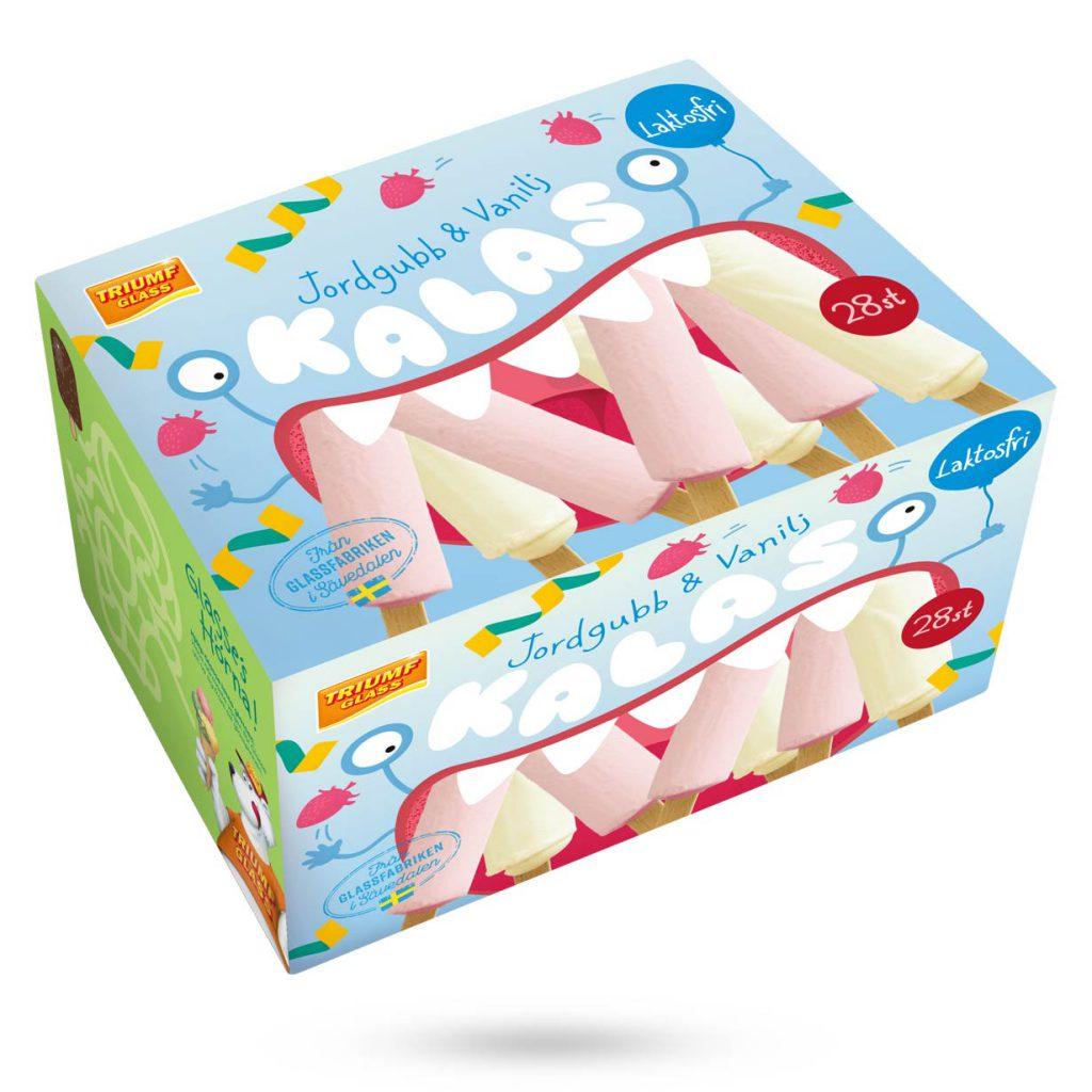 Triumf Kalas 28 laktosfria vanilj- och jordgubbsglasspinnar